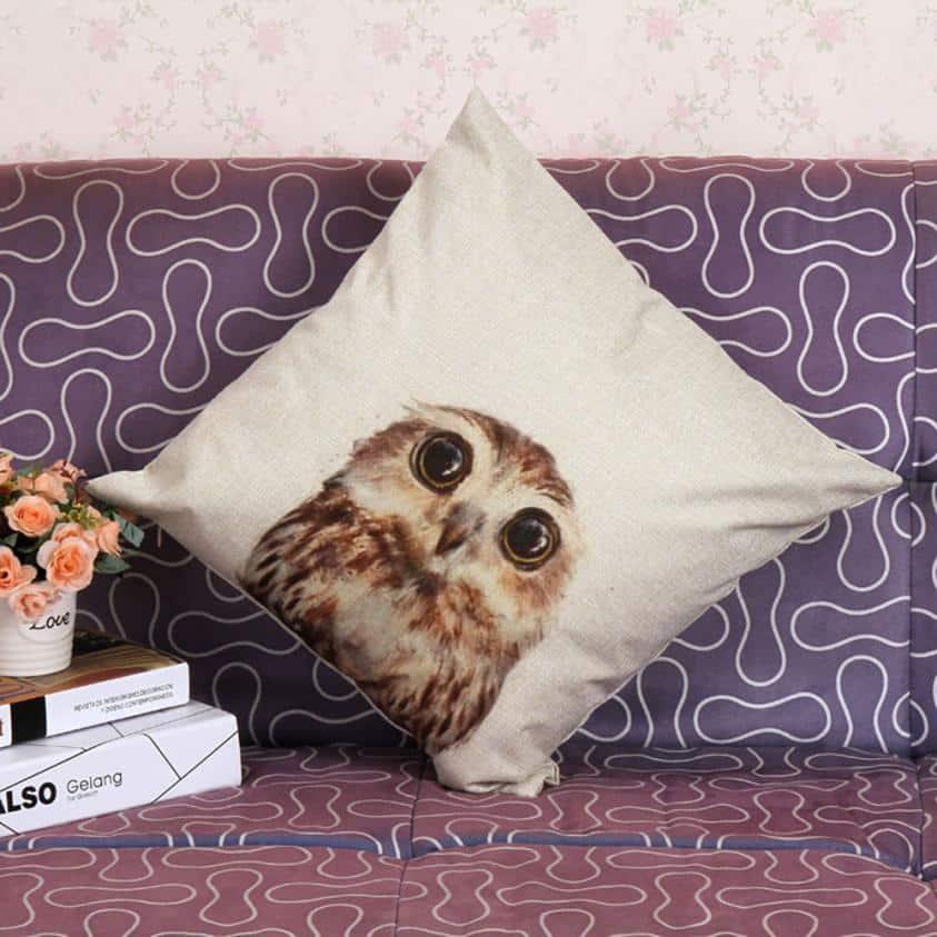 Vintage Owl Cotton Pillow Cover